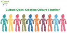 Culture Open project banner showing drawing of people holding hands and a text Culture Open Creating Culture Together